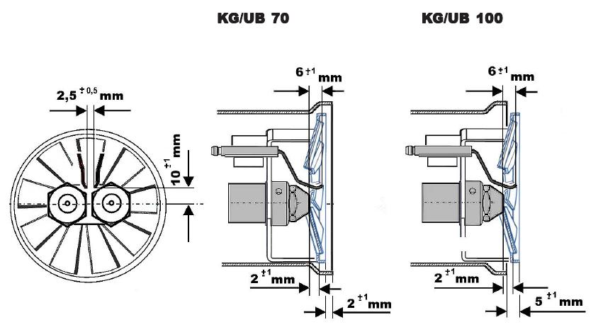 Зазоры на электродах Kroll 70 и 100